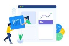 Colaboración del trabajo en equipo para crear el tablero de instrumentos de la web libre illustration