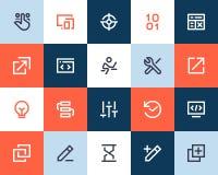 Colaborador e ícones de programação Estilo liso Fotografia de Stock Royalty Free