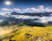Colac mountain range at foggy summer morning. Dolomites mountain Stock Image