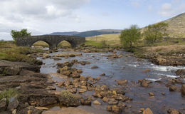 Coladoir river with old bridge, Kinloch Stock Photo
