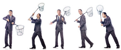 The colage of businessman with catching net on white Royalty Free Stock Photo