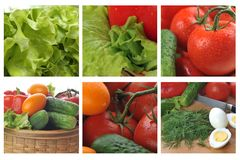 Colage com os vegetais frescos e saborosos imagens de stock royalty free