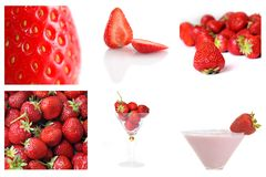 Colage of fresh and tasty strawbery Royalty Free Stock Photography