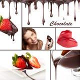 Colage van de chocolade Stock Foto's