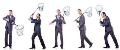 Colage van zakenman met vangen netto op wit royalty-vrije stock foto