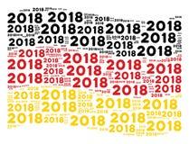 Colagem alemão de ondulação da bandeira de textos de 2018 anos Ilustração do Vetor