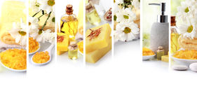 colagem amarela do conceito dos termas objetos dos termas do sabão e dos essensials Imagem de Stock Royalty Free