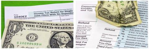 Colagem amarrotada do esforço dos formulários de imposto da nota de dólar fotos de stock
