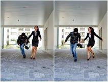 Colagem: Bandido que rouba o saco da mulher fotografia de stock royalty free