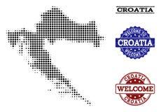 Colagem bem-vinda do mapa de intervalo mínimo da Croácia e de selos Textured ilustração do vetor