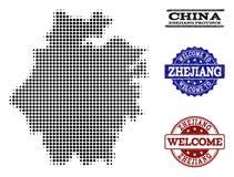 Colagem bem-vinda do mapa de intervalo mínimo da província de Zhejiang e de selos Textured ilustração stock