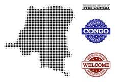 Colagem bem-vinda do mapa de intervalo mínimo da República Democrática do Congo Democrática e de selos riscados ilustração stock