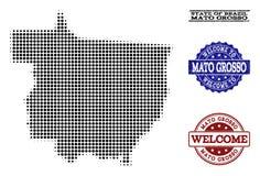 Colagem bem-vinda do mapa de intervalo mínimo de Mato Grosso State e de selos Textured ilustração royalty free