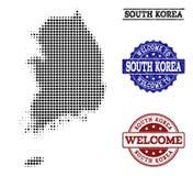 Colagem bem-vinda do mapa de intervalo mínimo de selos de Coreia do Sul e de Grunge ilustração stock
