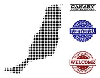 Colagem bem-vinda do mapa de intervalo mínimo de selos da ilha e da aflição de Fuerteventura ilustração stock