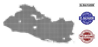 Colagem bem-vinda do mapa de intervalo mínimo de selos de El Salvador e de Grunge ilustração stock