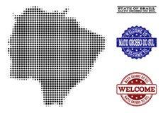Colagem bem-vinda do mapa de intervalo mínimo de selos de Mato Grosso Do Sul State e do Grunge ilustração do vetor