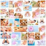 Colagem bonita da massagem dos termas. Imagem de Stock Royalty Free