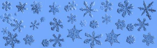 Colagem bonita do floco da neve em um claro - fim azul do fundo acima fotos de stock royalty free