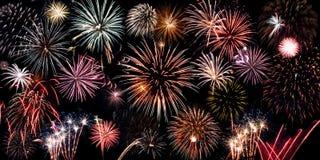 Colagem brilhante dos fogos-de-artifício fotografia de stock royalty free