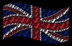 Colagem britânica de ondulação da bandeira dos ícones estrangeiros do embrião ilustração royalty free