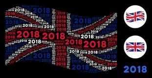 Colagem britânica de ondulação da bandeira de textos de 2018 anos Ilustração Royalty Free
