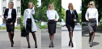 Colagem cinco mulheres de negócio Imagens de Stock