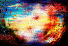 Colagem colorida bonita com motriz da música no fundo abstrato Imagem de Stock Royalty Free