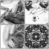 Colagem com as ferramentas velhas da costura Imagens de Stock Royalty Free