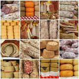 Colagem com as salsichas italianas típicas tradicionais Fotos de Stock