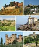 Colagem com castelos de tuscan foto de stock