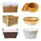 Colagem com cestas wickered Fotos de Stock Royalty Free