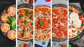 colagem com cinco tipos diferentes de pizza Fotos de Stock Royalty Free