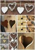 Colagem com corações de madeira Fotos de Stock