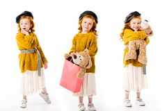 colagem com a criança à moda que está com o urso de peluche em poses diferentes Fotografia de Stock