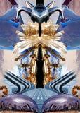 A colagem com cristais, os iceberg, a arquitetura, o plano e a arte objetam imagens de stock royalty free
