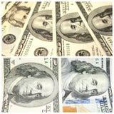 Colagem com fragmentos de cem banconotes do dólar Imagens de Stock Royalty Free