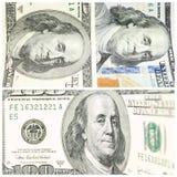 Colagem com fragmentos de cem banconotes do dólar Imagem de Stock Royalty Free