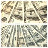 Colagem com fragmentos de dólares americanos Fotografia de Stock Royalty Free