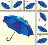 Colagem com guarda-chuvas azuis Imagem de Stock Royalty Free