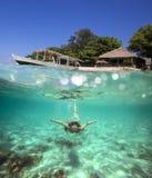 Colagem com a mulher que mergulha ao Underwater Imagens de Stock