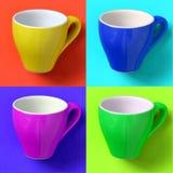 Colagem com o copo do café no estilo do pop art Imagens de Stock