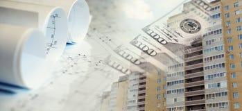 Colagem com planos, construção e dinheiro da construção Fotos de Stock Royalty Free