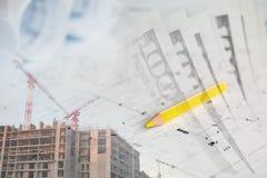 Colagem com planos, guindastes, construção e dinheiro Imagem de Stock