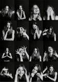 Colagem com tipos diferentes de emoção humana A diversidade suas manifestações fotografia de stock