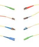 Colagem com tipos principais de conector de fibra óptica fotografia de stock royalty free