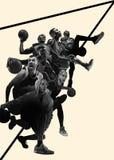 Colagem criativa de jogadores de basquetebol na ação fotos de stock