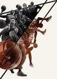 Colagem criativa de jogadores de basquetebol na ação fotografia de stock royalty free