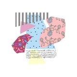 Colagem criativa do appliqué com texturas e testes padrões diferentes Imagem de Stock