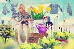 Colagem da arte com a mulher nova bonita nas flores Fotos de Stock Royalty Free